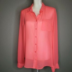 American Eagle Outfitters Neon Pink Button Up